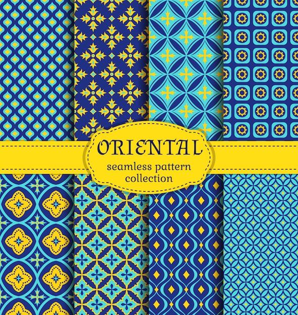 Orientalne wzory bez szwu. Premium Wektorów
