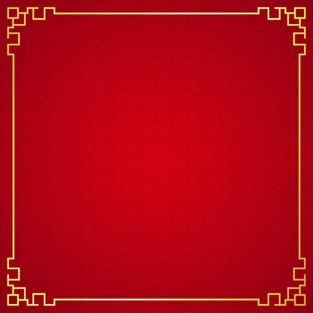 Orientalny chiński ornament granicy na czerwonym tle Premium Wektorów