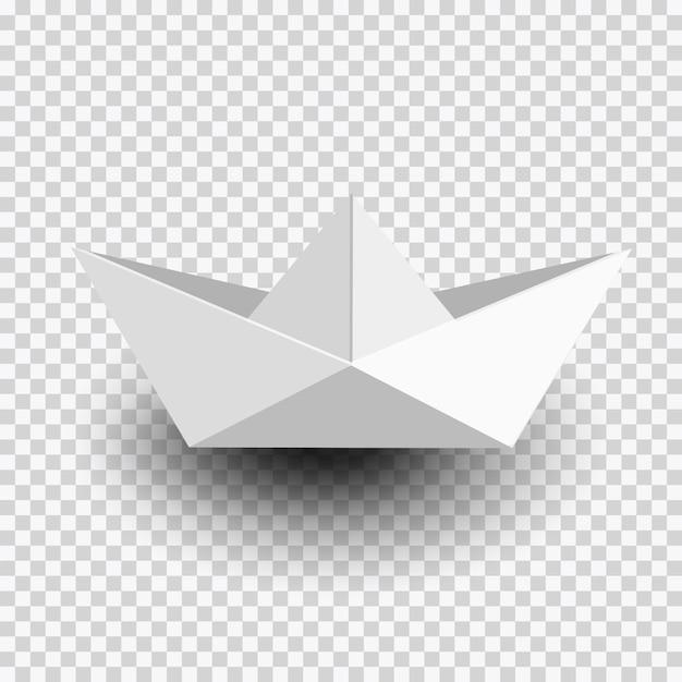 Origami biały papier statek, łódź na przezroczystym Premium Wektorów
