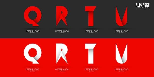 Origami style crispy alphabets logos Premium Wektorów