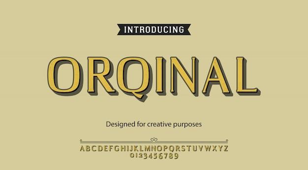 Oryginalna Czcionka. Do Etykiet I Wzorów Różnych Typów Premium Wektorów