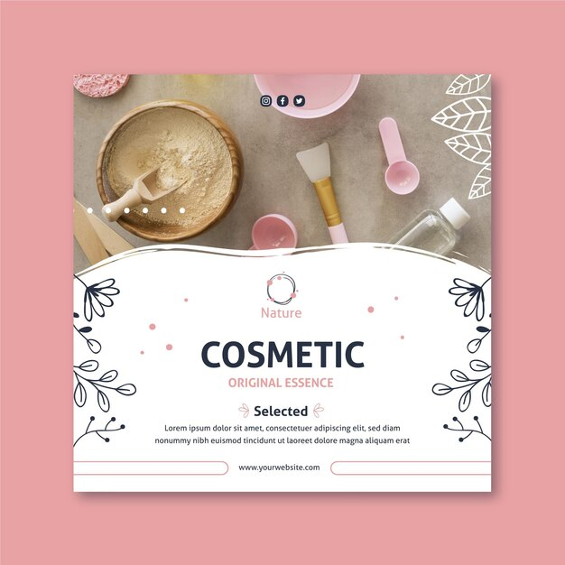 Oryginalna Kwadratowa Ulotka Essence Natural Cosmetics Premium Wektorów