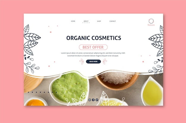 Oryginalna Strona Docelowa Kosmetyków Naturalnych Essence Darmowych Wektorów