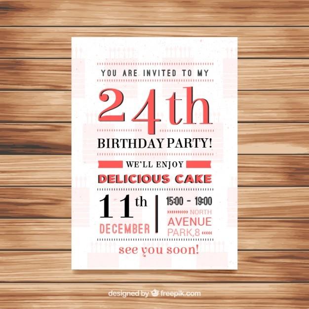 Oryginalne Zaproszenie Urodzinowe W Stylu Vintage Wektor Darmowe