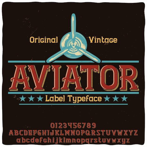"""Oryginalny Krój Pisma O Nazwie """"aviator"""" Darmowych Wektorów"""