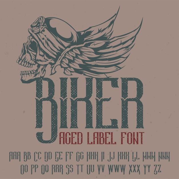 """Oryginalny Krój Pisma O Nazwie """"biker"""". Dobry W Użyciu W Każdym Projekcie Etykiety. Darmowych Wektorów"""