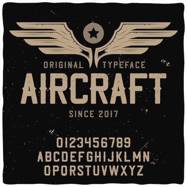 """Oryginalny Krój Pisma O Nazwie """"samolot"""". Darmowych Wektorów"""