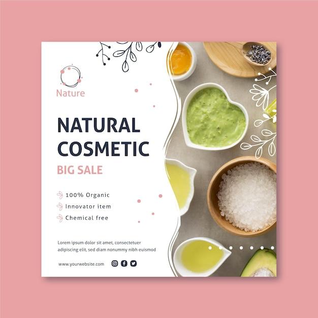 Oryginalny Kwadratowy Szablon Ulotki Essence Kosmetyki Naturalne Premium Wektorów