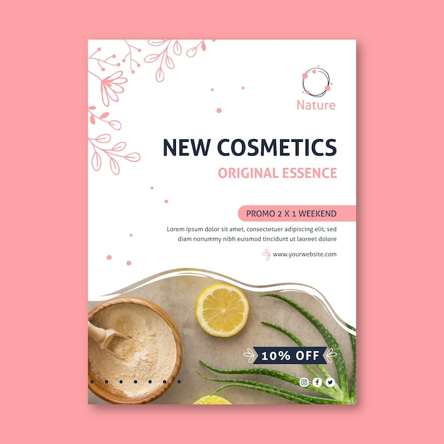 Oryginalny Szablon Ulotki Kosmetyki Naturalne Essence Darmowych Wektorów