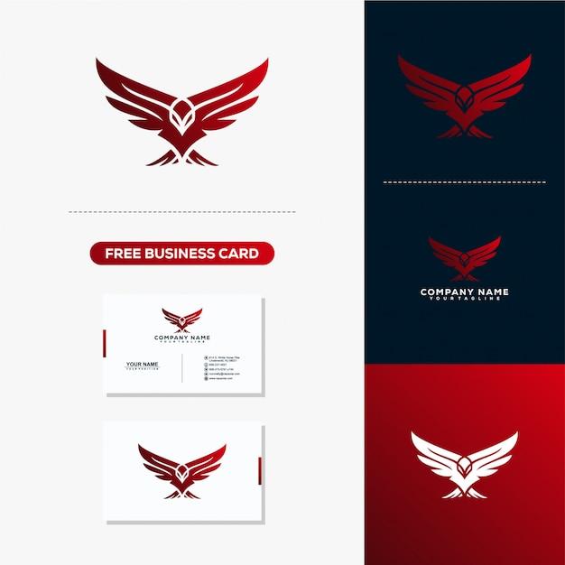 Orzeł twórczy Logo Design Concept Vector Template Premium Wektorów