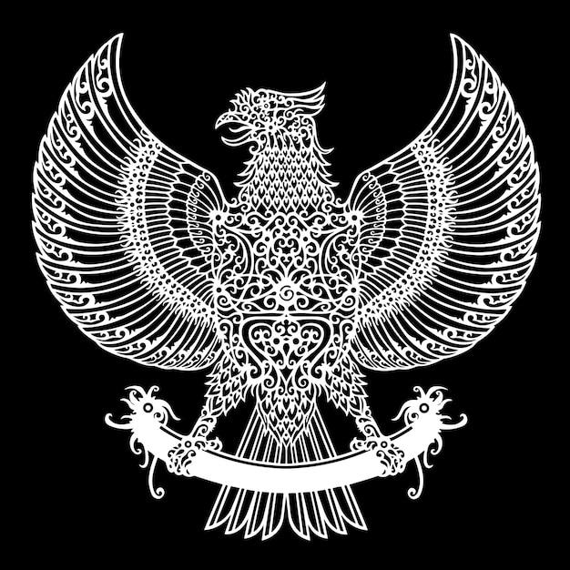 Orzeł Plemienny Tatuaż Motyw Dayak Indonezja Premium Wektorów