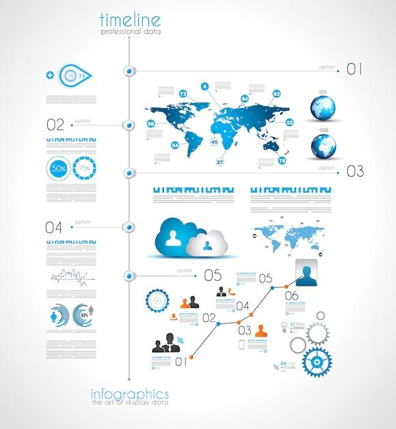 Oś czasu do wyświetlania danych z elementami infographic Premium Wektorów