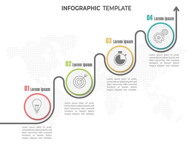 Oś czasu infographic 4 kroki lub opcje. Premium Wektorów