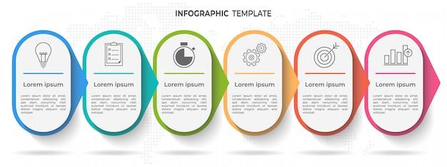 Oś czasu infographic szablon 6 opcji lub kroków. Premium Wektorów