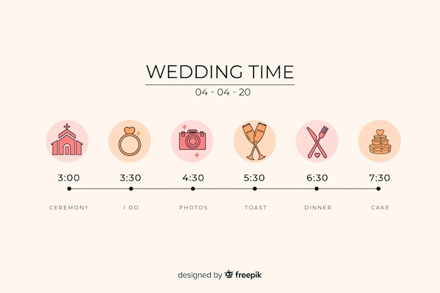 Oś czasu ślubu w stylu liniowym Darmowych Wektorów