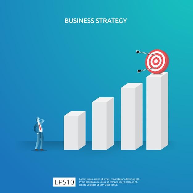 Osiąganie Celów Biznesowych, Wizja I Koncepcja Planu Planowania I Zarządzania Finansami. Udane Zarządzanie Strategią Zysku Z Inwestycji Z Postacią Szachową I Ilustracją Celu Tarczy Premium Wektorów