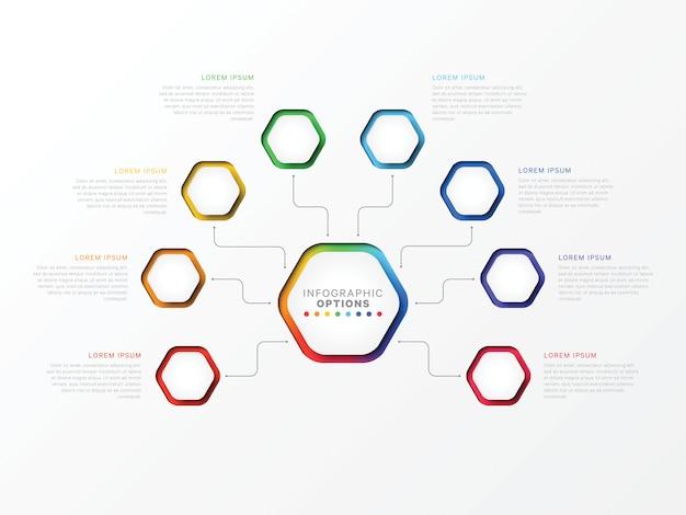 Osiem Kroków 3d Infographic Szablon Z Sześciokątnymi Elementami Premium Wektorów