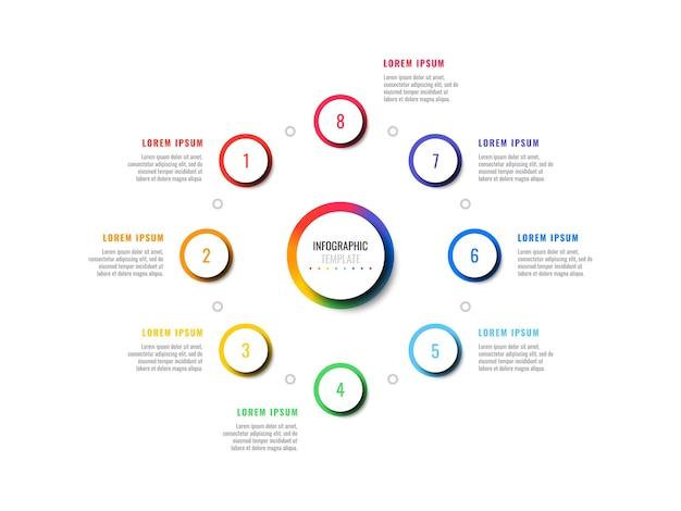 Osiem Kroków Projektowania Układu Infografiki Szablon Z Okrągłymi Elementami Premium Wektorów