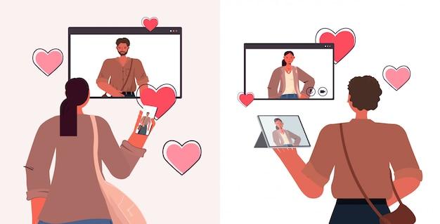 Osób Korzystających Z Gadżetów Cyfrowych Na Czacie W Aplikacji Randkowej W Przeglądarce Internetowej Windows Koncepcja Relacji Społecznych Pozioma Ilustracja Portret Premium Wektorów