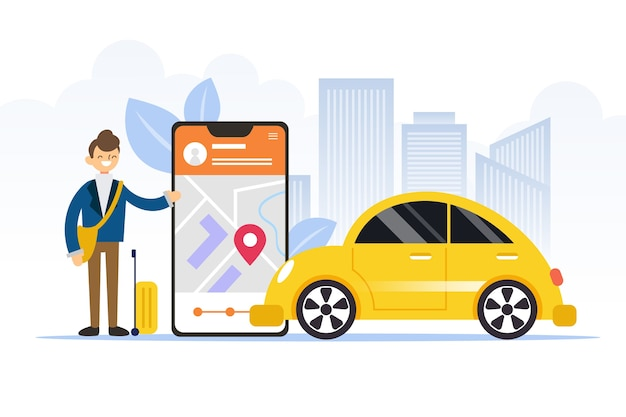 Osoba Obok Aplikacji Taksówki Na Telefonie Zilustrowana Darmowych Wektorów