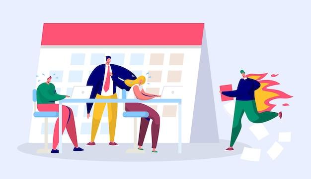 Osoba Office Business Manager Pracuje W Nadgodzinach W Terminie. Pełny Raport Postaci Stresującej Pod Presją Twardego Szefa. Premium Wektorów