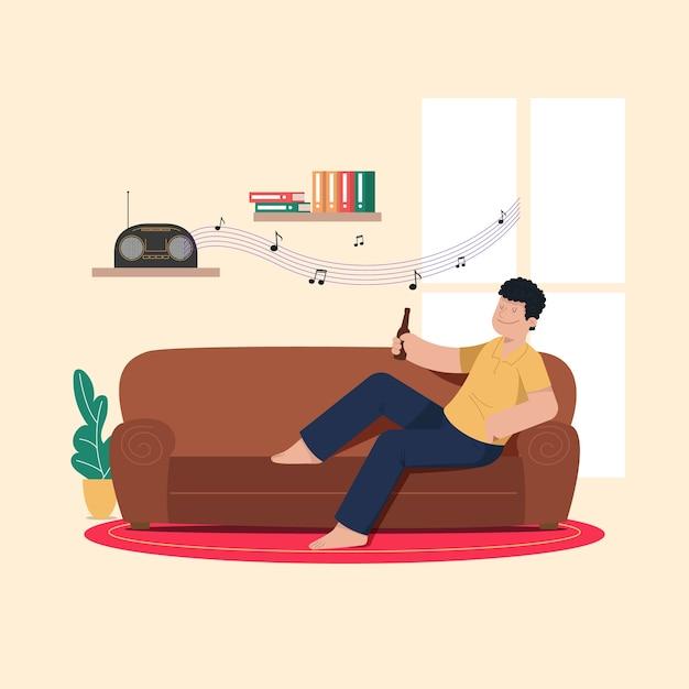 Osoba Relaksująca Się W Domu Darmowych Wektorów