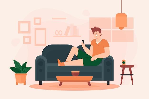 Osoba Relaksuje W Domu Ilustrację Darmowych Wektorów