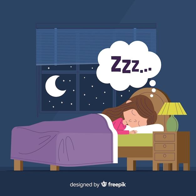 Osoba śpiąca w tle łóżka Darmowych Wektorów