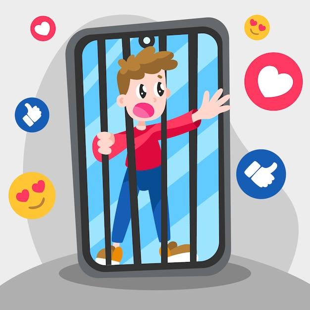 Osoba Uzależniona Od Mediów Społecznościowych Darmowych Wektorów