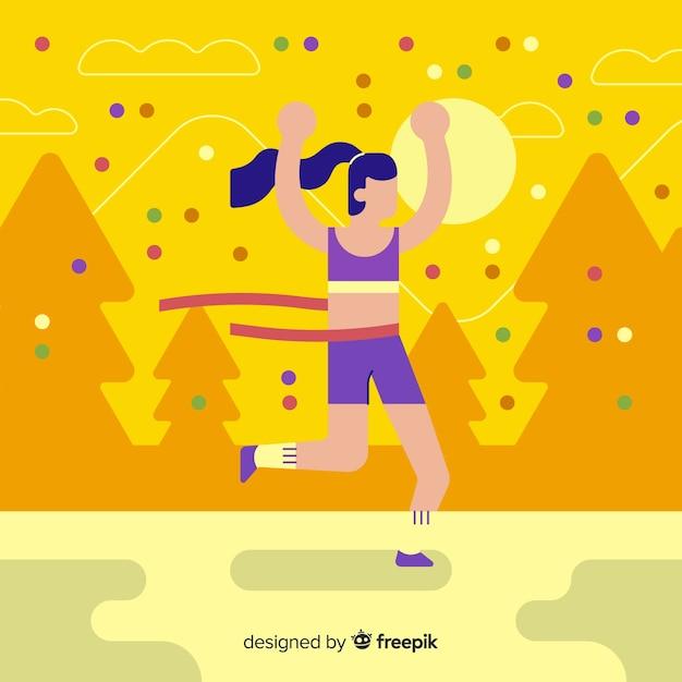 Osoba wygrywająca wyścig maratoński Darmowych Wektorów