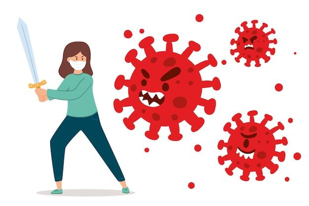 Osoba Z Mieczem Walcząca Z Wirusem Darmowych Wektorów