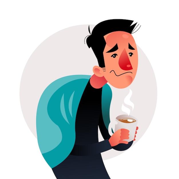 Osoba Z Przeziębieniem I Herbatą Darmowych Wektorów
