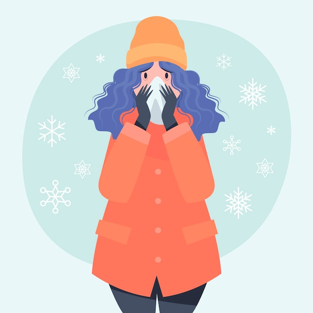 Osoba Z Przeziębieniem Darmowych Wektorów