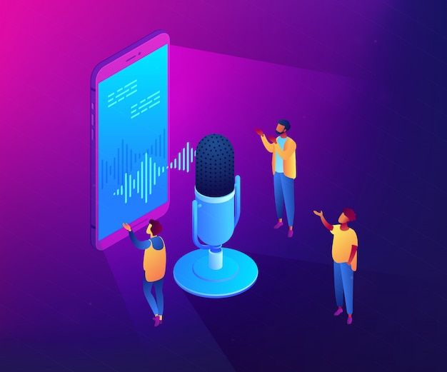 Osobistego Głosu Asystenta Isometric 3d Pojęcia Ilustracja. Premium Wektorów