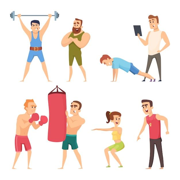 Osobisty trener na siłowni. wektor zestaw znaków Premium Wektorów