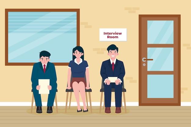 Osoby Czekające Na Rozmowę Kwalifikacyjną Darmowych Wektorów