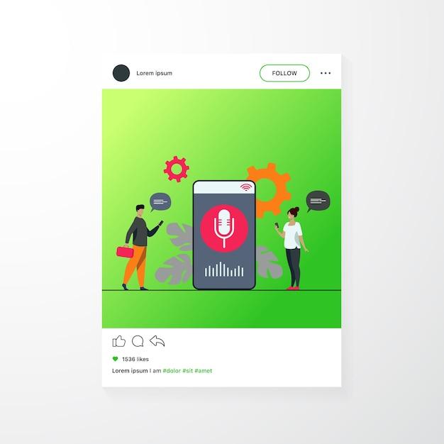 Osoby Korzystające Z Aplikacji Asystenta Głosowego Na Smartfonie Z Głośnikiem Na Ekranie Darmowych Wektorów