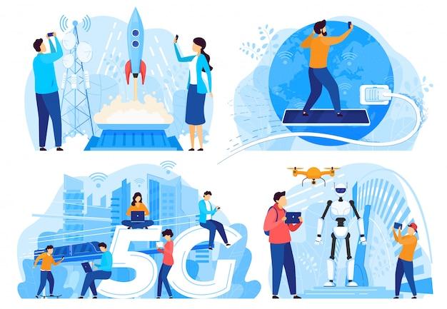 Osoby Korzystające Z Internetu 5g, Innowacyjne Technologie, Ilustracja Premium Wektorów