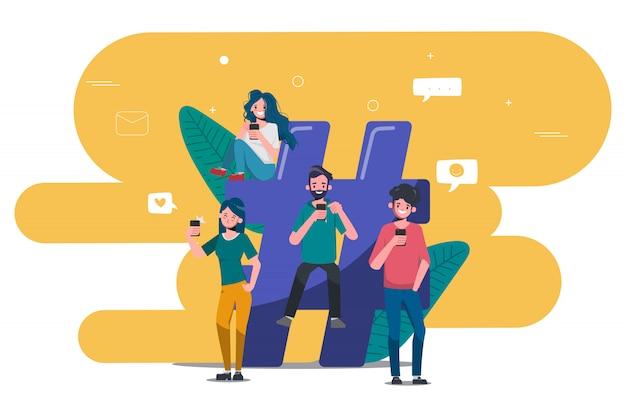 Osoby Korzystające Z Telefonu Komórkowego W Mediach Społecznościowych Ludzie Społeczności Online. Premium Wektorów