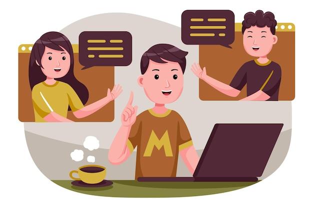 Osoby łączące Się Ze Sobą, Spotkania Online Z Telekonferencją, Zdalna Obsługa Wideokonferencji Na Laptopie. Premium Wektorów