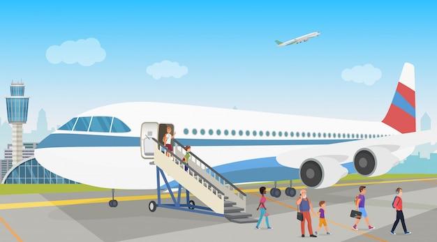 Osoby Lądujące Z Samolotu Na Lotnisku. Rozładunek. Premium Wektorów