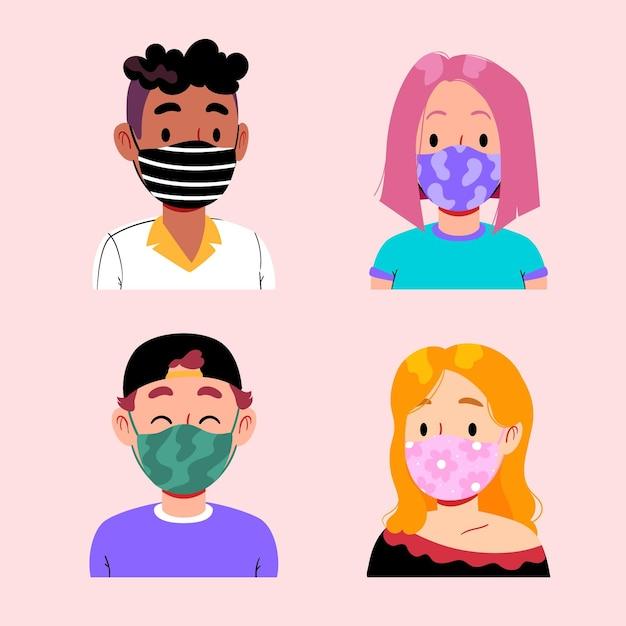 Osoby Noszące Maski Z Tkaniny Darmowych Wektorów