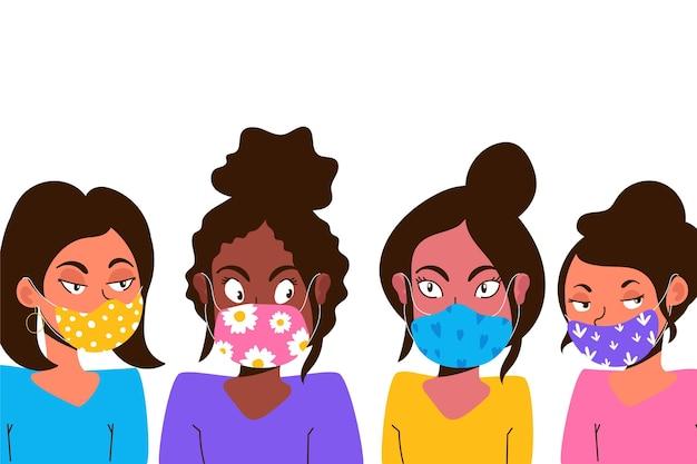 Osoby Noszące Motywy Masek Z Tkaniny Darmowych Wektorów