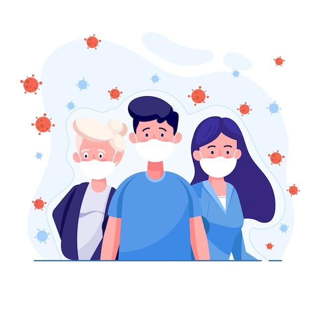 Osoby Noszące Ochronną Maskę Medyczną Do Ochrony Wirusa Corona Z Wirus Rozprzestrzenia Się W Powietrzu. Premium Wektorów