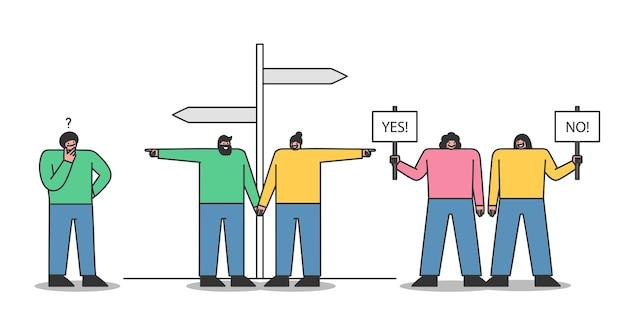 """Osoby Podejmujące Decyzje: Para Wybiera Kierunek Przy Znaku Drogowym, Kobiety Bez Plakietek """"tak"""" I """"tak"""", Mężczyzna Myśli Nad Rozwiązaniem Premium Wektorów"""