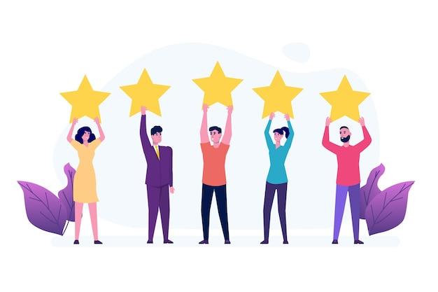 Osoby Posiadające Złotą Gwiazdkę. Pozytywne Opinie Gwiazd, Ankieta Dotycząca Zapewnienia Jakości Premium Wektorów