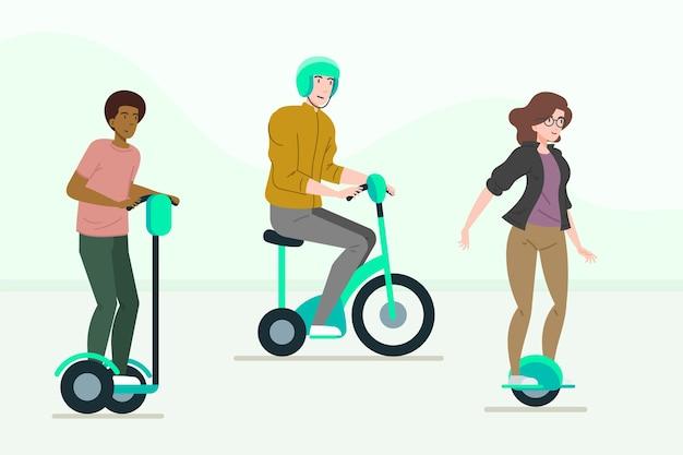 Osoby Prowadzące Zestaw Do Transportu Elektrycznego Darmowych Wektorów