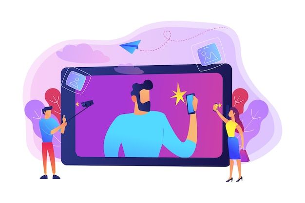 Osoby Robiące Selfie Ze Smartfonami I Ilustracją Kijem Do Selfie Darmowych Wektorów