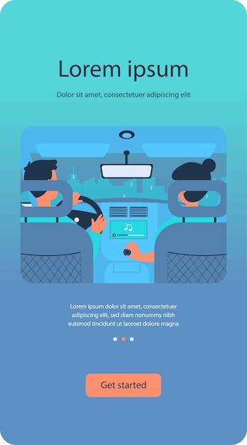Osoby Słuchające Muzyki Podczas Podróży Samochodem Premium Wektorów