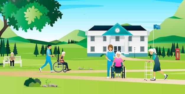 Osoby Starsze Odpoczywają I Spacerują Z Pielęgniarkami W Domu Opieki Premium Wektorów